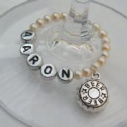 Beer Cap Personalised Wine Glass Charm - Full Bead Style